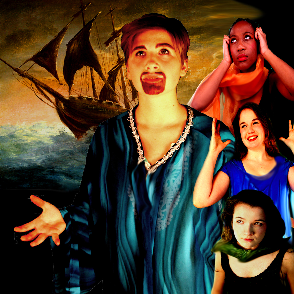 Rozara Sanders as Prospero, Gloria Ihenetu, Hannah Thien, and Hunter Frederick as Ariels